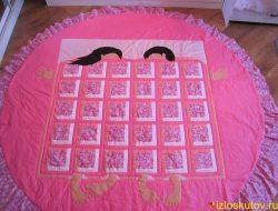 """Лоскутное покрывало на круглую кровать """"Розовый мир"""" № 138"""