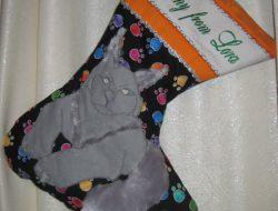 """Лоскутный рождественский носок """"Мейн Кун"""" № 24"""