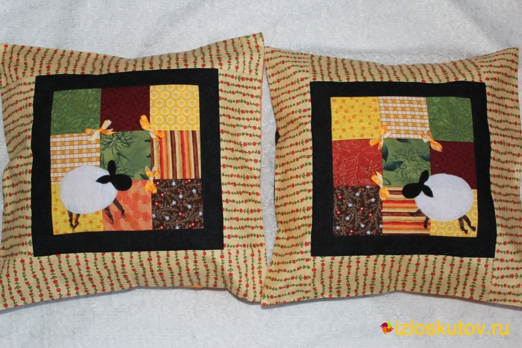"Декоративная лоскутная подушка ""Овечки"" № 5"