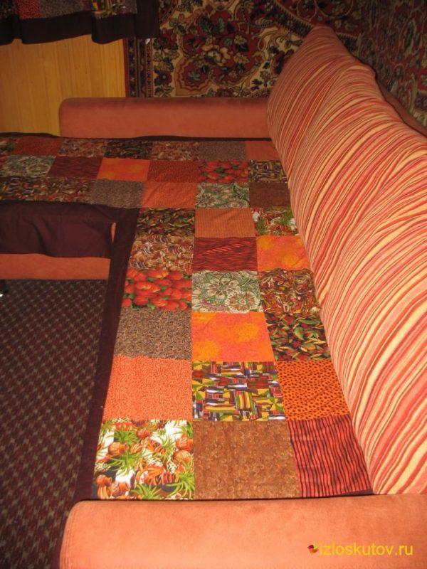"""Лоскутный комплект покрывало на диван, подушки и шторы """"Сандал"""" №60"""
