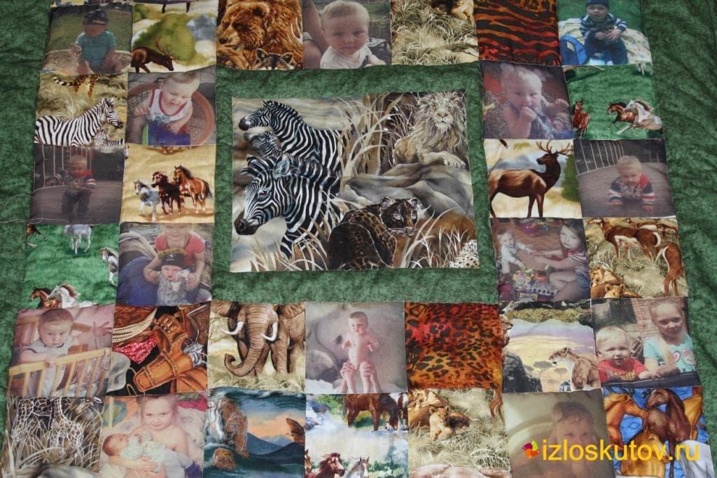 """Детское лоскутное покрывало с фото """"Маугли"""" № 329"""