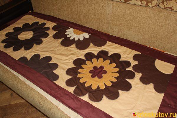 """Детское лоскутное покрывало """"Шоколадные цветы"""" № 380"""