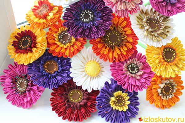 """Цветы из ткани """"Герберы"""""""