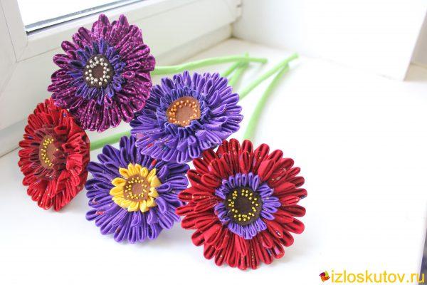"""Цветы из ткани """"Герберы"""" № 419"""
