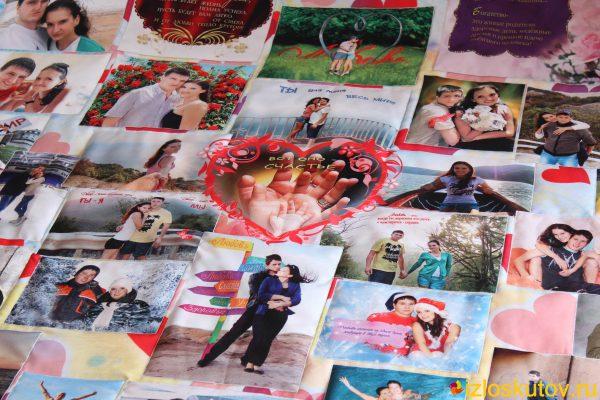 """Лоскутное одеяло с фото """"Любовь с пожеланиями"""" № 428"""
