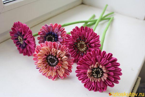 """Цветы из ткани """"Герберы"""" № 576"""