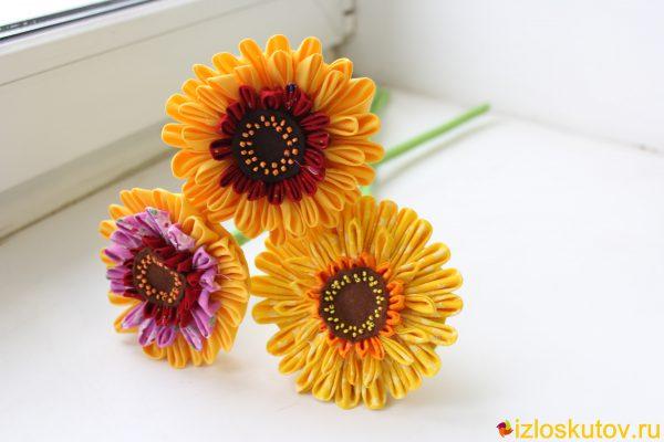 """Цветы из ткани """"Герберы"""" № 586"""