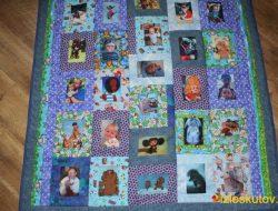 """Детское лоскутное одеяло с фото """"Незабываемое детство"""" № 356"""