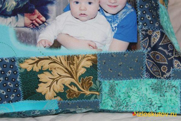"""Лоскутная наволочка с фото """"Мамино счастье"""" № 456"""