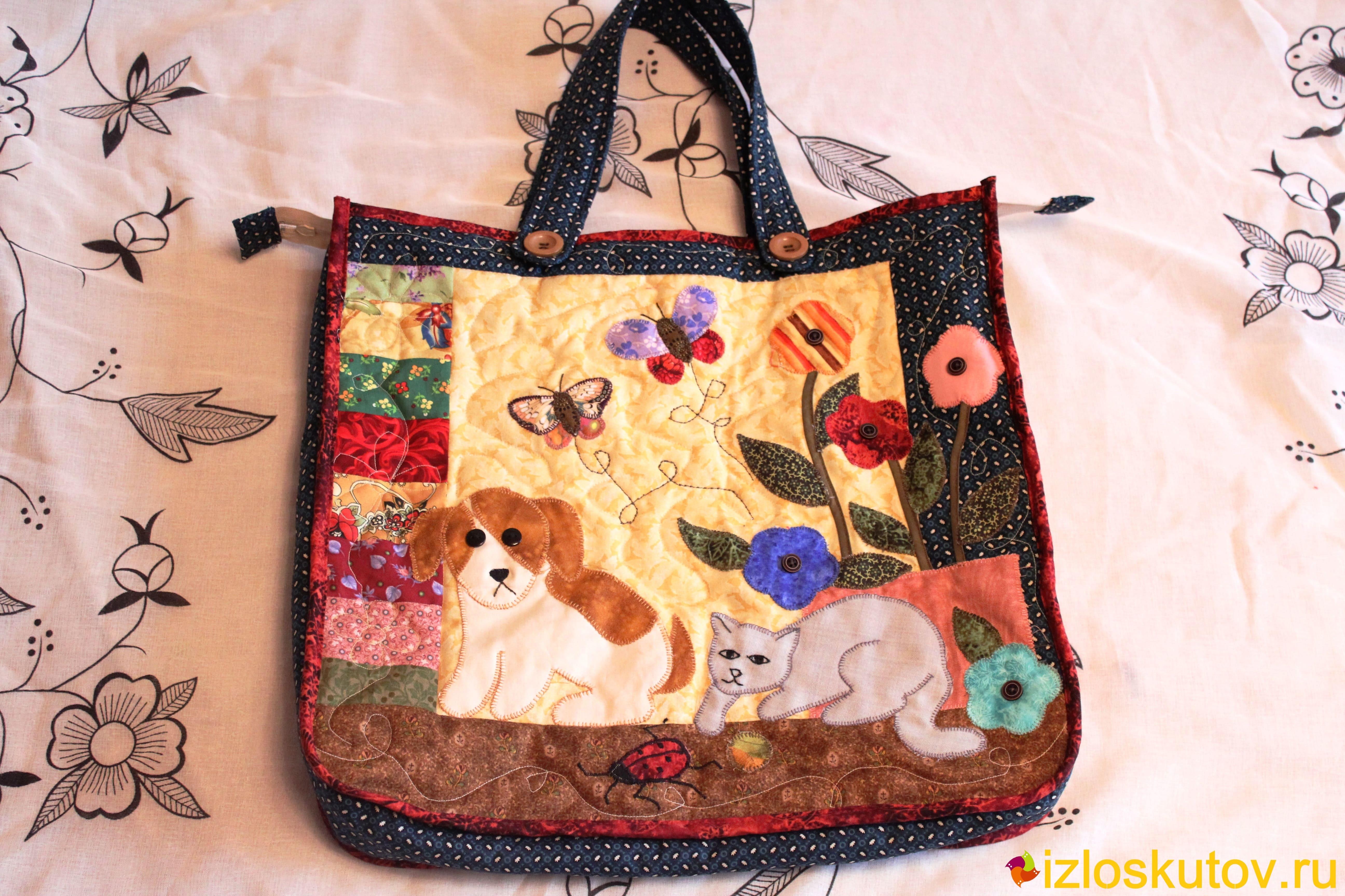"""Лоскутная сумка """"Кошка с собакой"""" № 497"""
