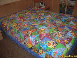 "Лоскутное одеяло ""Синий огурец"" № 1566"