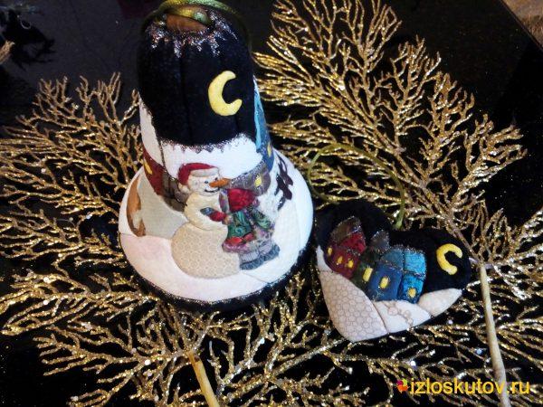 """Ёлочная игрушка """"Девочка и снеговик"""" №708"""