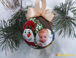 """Лоскутный шар """"Малыш Снеговик"""" № 727"""
