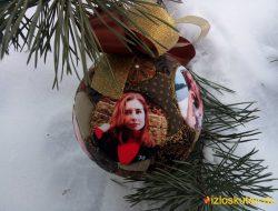 """Ёлочный шар с фотографиями """"Золотой цветок"""" № 731"""