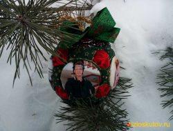 """Ёлочный шар с фотографиями """"Новогодняя сосна"""" № 732"""