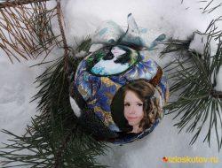 """Ёлочный шар с фотографиями """"Снегирь не ветке"""" № 734"""