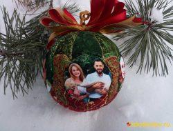 """Ёлочный шар с фотографиями """"Рождественские каникулы"""" № 736"""