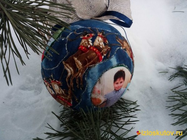 """Ёлочный шар с фотографиями """"Рождественские сани"""" № 737"""