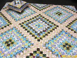 """Лоскутное одеяло и подушка """"Лазурная вуаль"""" № 1035"""