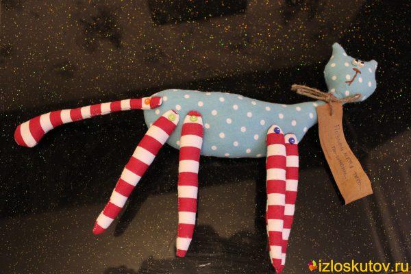 """Текстильная игрушка """"Кот"""" (бирюзовый в горох) № 1575"""